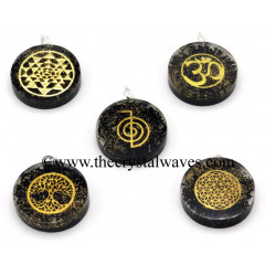 Black Tourmaline Chips With Mix Assorted Symbols Round Orgone Disc Pendant