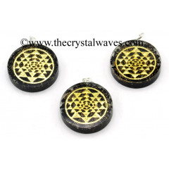 Black Tourmaline Chips With Yantra Symbols Round Orgone Disc Pendant