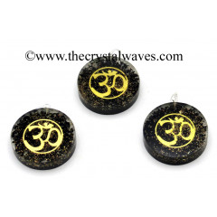 Black Tourmaline Chips With Om Symbols Round Orgone Disc Pendant