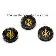 Black Tourmaline Chips With Cho Ku Rei Symbols Round Orgone Disc