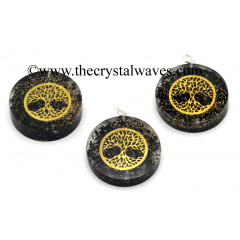 Black Tourmaline Chips With Tree Of Life Symbols Round Orgone Disc