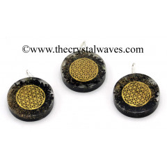 Black Tourmaline Chips With Flower Of Life Symbols Round Orgone Disc