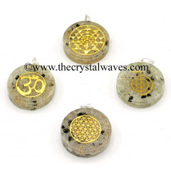 Rainbow Moonstone Chips With Mix Assorted Symbols Round Orgone Disc Pendant