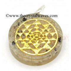 Rainbow Moonstone Chips With Yantra Symbols Round Orgone Disc Pendant