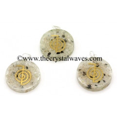 Rainbow Moonstone Chips With Cho Ku Rei Symbols Round Orgone Disc Pendant