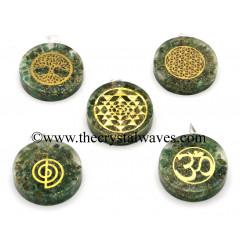 Green Aventrine Chips With Mix Assorted Symbols Round Orgone Disc Pendant