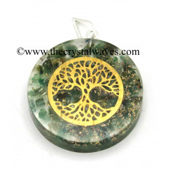 Green Aventrine Chips With Tree Of Life Symbols Round Orgone Disc Pendant