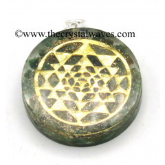 Green Aventrine Chips With Yantra Symbols Round Orgone Disc Pendant