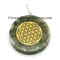 Green Aventrine Chips With Flower Of Life Symbols Round Orgone Disc Pendant