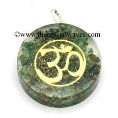 Green Aventrine Chips With Om Symbols Round Orgone Disc Pendant