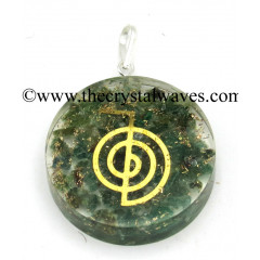 Green Aventrine Chips With Cho Ku Rei Symbols Round Orgone Disc Pendant