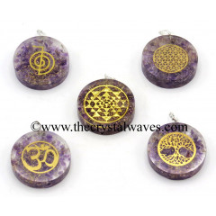 Amethyst Chips With Mix Assorted Symbols Round Orgone Disc Pendant