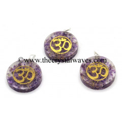 Amethyst Chips With Om Symbols Round Orgone Disc Pendant