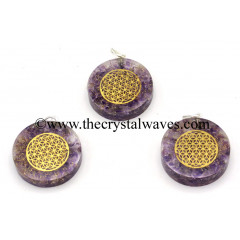 Amethyst Chips With Flower Of Life Symbols Round Orgone Disc Pendant