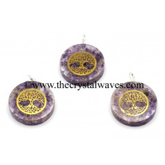 Amethyst Chips With Tree Of Life Symbols Round Orgone Disc Pendant