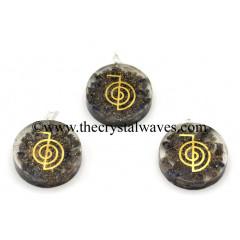 Blue Aventurine Chips With Cho Ku Rei Symbols Round Orgone Disc Pendant