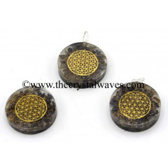 Blue Aventurine Chips With Flower Of Life Symbols Round Orgone Disc Pendant