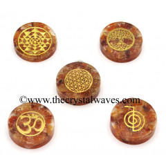 Carnelian Chips With Mix Assorted Symbols Round Orgone Disc Pendant