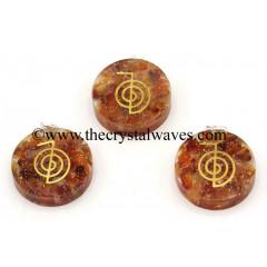 Carnelian Chips With Cho Ku Rei Symbols Round Orgone Disc Pendant