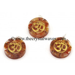 Carnelian Chips With Om Symbols Round Orgone Disc Pendant
