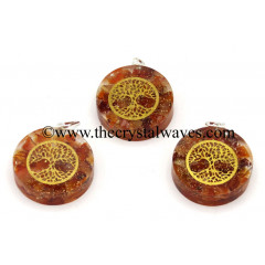 Carnelian Chips With Tree Of Life Symbols Round Orgone Disc Pendant