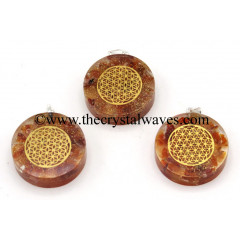 Carnelian Chips With Flower Of Life Symbols Round Orgone Disc Pendant