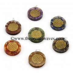 Chips With Flower Of Life Symbols Round Orgone Disc Pendant Chakra Set