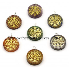 Chips With Yantra Symbols Round Orgone Disc Pendant Chakra Set