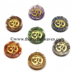Chips With Om Symbols Round Orgone Disc Pendant Chakra Set