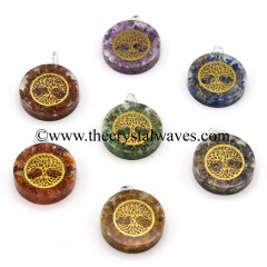Chips With Tree Of Life Symbols Round Orgone Disc Pendant Chakra Set