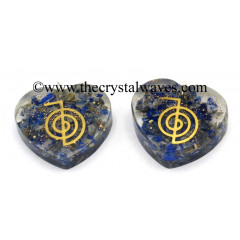 Lapis Lazuli Chips With Cho Ku Rei Symbols Heart Shape Orgone
