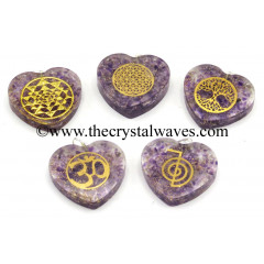 Amethyst Chips With Mix Assorted Symbols Heart Shape Orgone Pendant