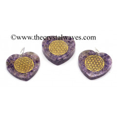 Amethyst Chips With Flower Of Life Symbols Heart Shape Orgone Pendant