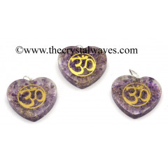 Amethyst Chips With Om Symbols Heart Shape Orgone Pendant