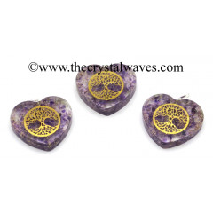 Amethyst Chips With Tree Of Life Symbols Heart Shape Orgone Pendant