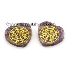 Amethyst Chips With Yantra Symbols Heart Shape Orgone Pendant