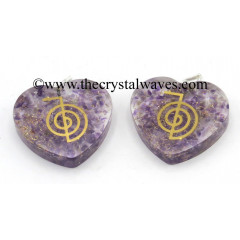 Amethyst Chips With Cho Ku Rei Symbols Heart Shape Orgone