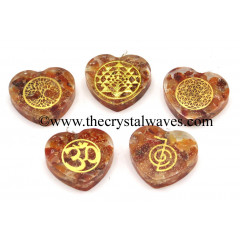 Carnelian Chips With Mix Assorted Symbols Heart Shape Orgone Pendant