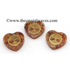 Carnelian Chips With Tree Of Life Symbols Heart Shape Orgone Pendant