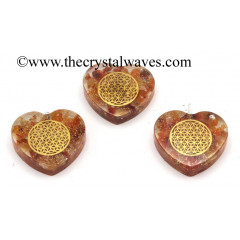 Carnelian Chips With Flower Of Life Symbols Heart Shape Orgone Pendant