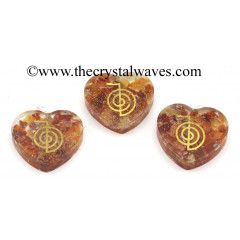 Carnelian Chips With Cho Ku Rei Symbols Heart Shape Orgone