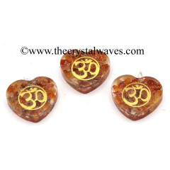 Carnelian Chips With Om Symbols Heart Shape Orgone Pendant