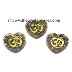 Blue Aventurine Chips With Om Symbols Heart Shape Orgone Pendant