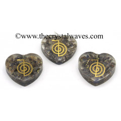 Blue Aventurine Chips With Cho Ku Rei Symbols Heart Shape Orgone