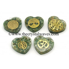 Green Aventurine Chips With Mix Assorted Symbols Heart Shape Orgone Pendant