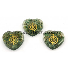 Green Aventurine Chips With Cho Ku Rei Symbols Heart Shape Orgone