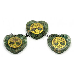 Green Aventurine Chips With Tree Of Life Symbols Heart Shape Orgone Pendant