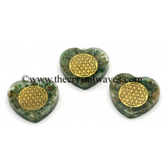 Green Aventurine Chips With Flower Of Life Symbols Heart Shape Orgone Pendant