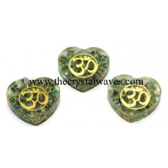Green Aventurine Chips With Om Symbols Heart Shape Orgone Pendant