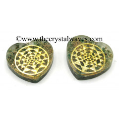 Green Aventurine Chips With Yantra Symbols Heart Shape Orgone Pendant